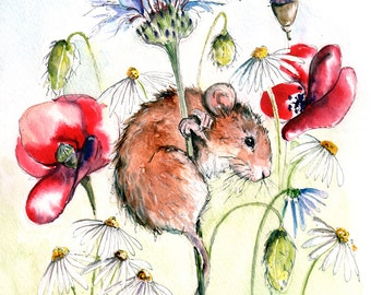 Mouse & Poppy Print- Illustration Painting - Watercolor Art -6x4 Print-A4 print mounted- mouse,farm,animal,art,painting,country,poppy,red