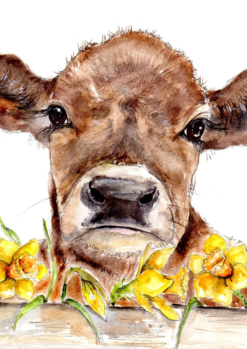 Cow Illustration Painting Watercolor Art 6x4 Print A4 Etsy