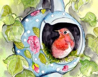 Robin & vintage Tea Pot Print- Illustration Painting - Watercolor Art -6x4 Print-A4 print set in a mount- robin, vintage,art, painting,bird