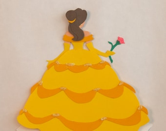 SALE Beautiful Belle Paper Art Wall Disney Princess Inspired Beauty and the Beast