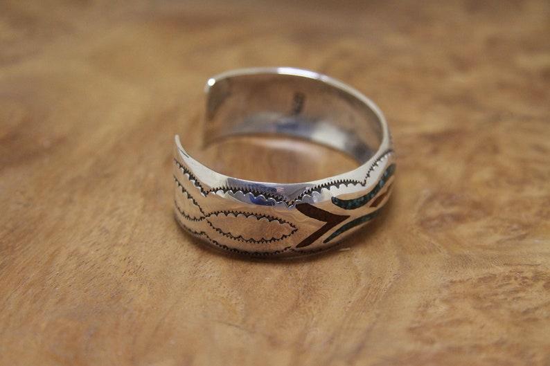Navajo Silver Bracelet Inlaid Delvin J Nelson