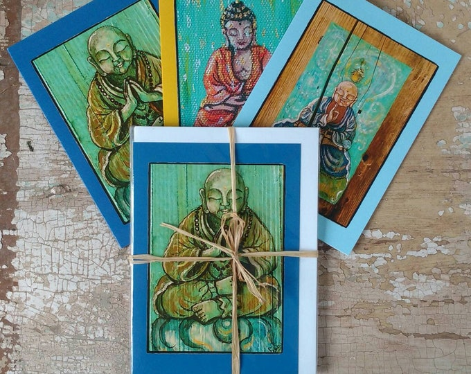 Buddha Greeting Cards, Set of 3 Different Cards, Designed by Susana Caban, Blank Buddha Note Cards, Buddhist Gift