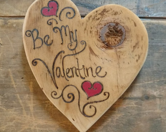 Be My Valentine, HEART of the HOME Wall Decor Carved in Antique Barn Wood, Valentine's Day Gift, Rustic Home Decor, Wall Art