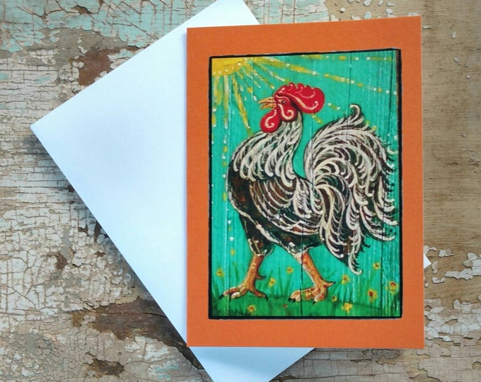 TROPICAL FRENCH ROOSTER Greeting Cards, Set of 3 Orange Rooster Cards, Designed by Susana Caban, Blank Note Cards, Farm House Decor and Gift