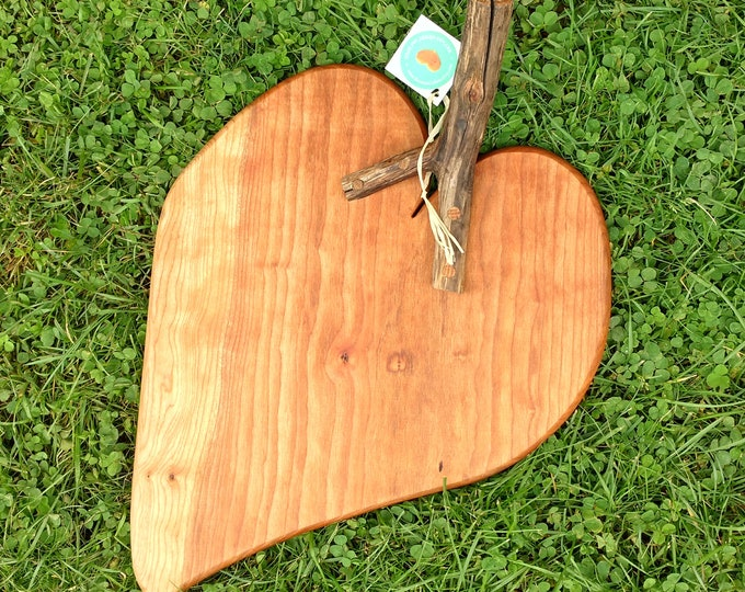 Leaf Shaped Cutting Board in Cherry Wood with Rustic Apple Wood Handle, Cheese Board in Cherry Wood, Wedding Gift, Kitchen Ware