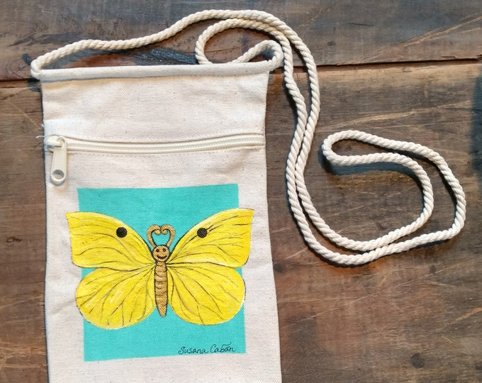 Happy Face Yellow Butterfly Purse, Hand Painted Yellow Butterfly, Small Canvas Purse on a String with Zipper, Original Art by Susana Caban