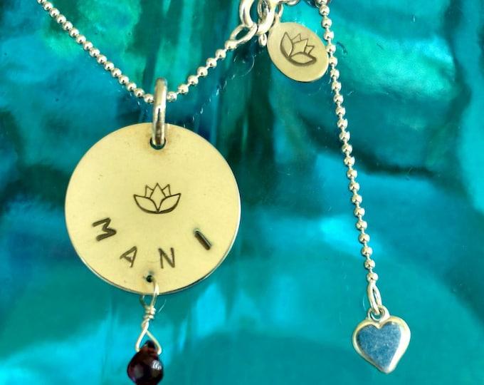 SANSKRIT BLESSING Charm MANI, Jewel Necklace in Sanskrit, Sterling Silver Sanskrit Meditation Jewelry, Yoga Inspired Jewelry (#006)