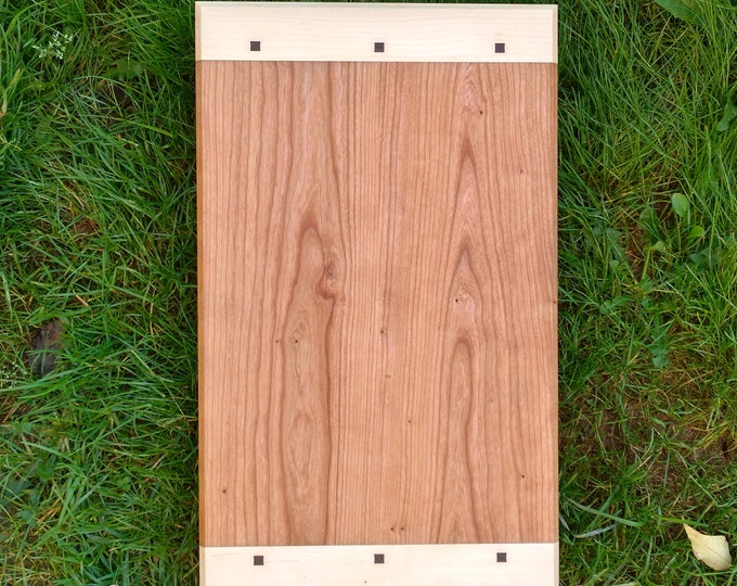 Large CHERRY WOOD Cutting Board with Maple and Black Walnut Wood by Daniel Caban, Cutting Board with Breadboard Ends in Cherry Wood