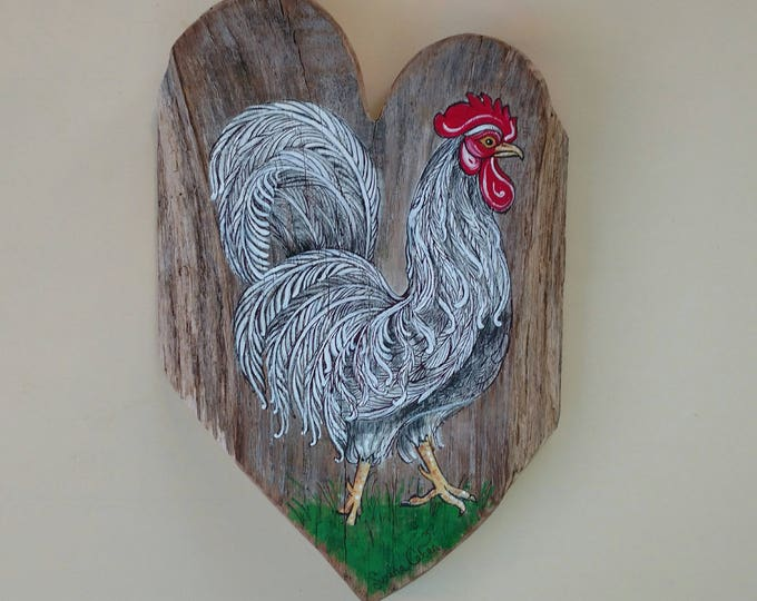 White Rooster Painting, Tropical French ROOSTER Meets HEART of the HOME in Weathered Red Oak Wood, Original Rooster Art by Susana Caban