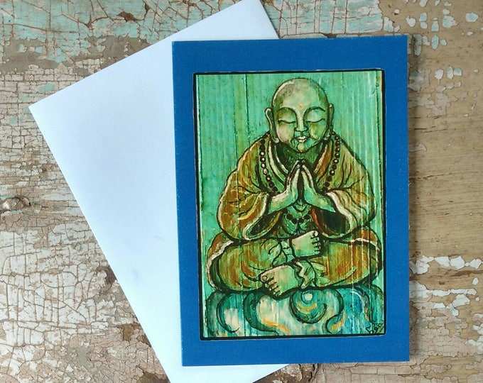 BLISSFUL Buddha Greeting Cards, Set of 3 Blue Cards with Deep Blue Border, Designed by Susana Caban, Blank Buddha Note Cards, Buddhist Gift