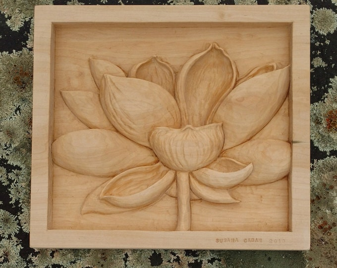 Hand Carved LOTUS Flower in Bass Wood by Susana Caban, Lotus Flower Wood Carving, Buddhist Art and Home Decor