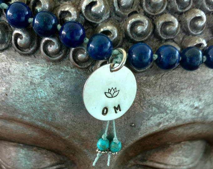 BLUE LAPIS Mala Bead Necklace with Sterling Silver OM Charm, Lotus Flower Om Blue Mala, Meditation Necklace, Yoga Inspired Jewelry (#044)