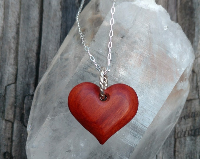 TINY RED HEART Pendant in Exotic Red Heart Wood with Sterling Silver Chain, Valentine's Day Gift