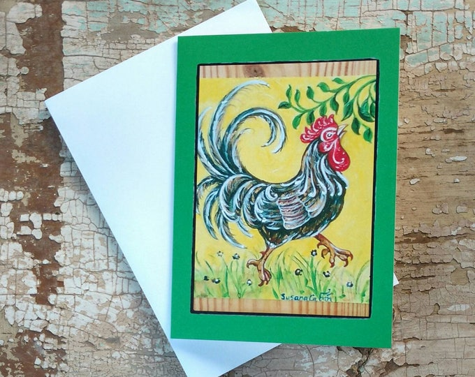 TROPICAL FRENCH ROOSTER Greeting Cards, Set of 3 Green Rooster Cards, Designed by Susana Caban, Blank Note Cards, Farm House Decor and Gift