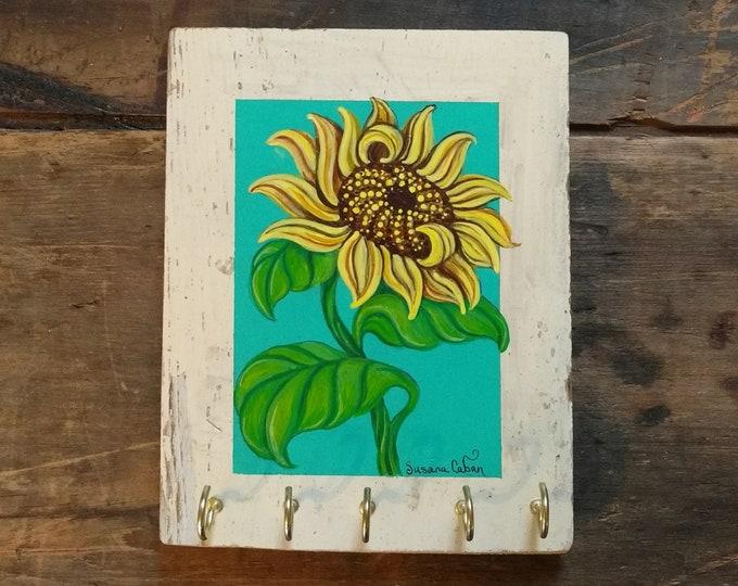 Sunflower Painting, Sunflower Key Holder in Barn Wood, Farm House Decor, Original Art by Susana Caban