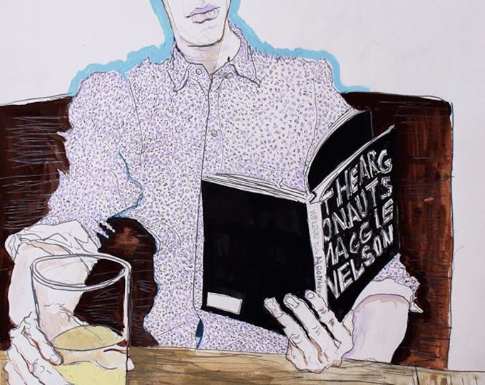 Ian Reading Maggie Nelson at Comet Tavern, Original Portrait Painting in Gouache, Graphite & Ink on Paper by Blue Caban