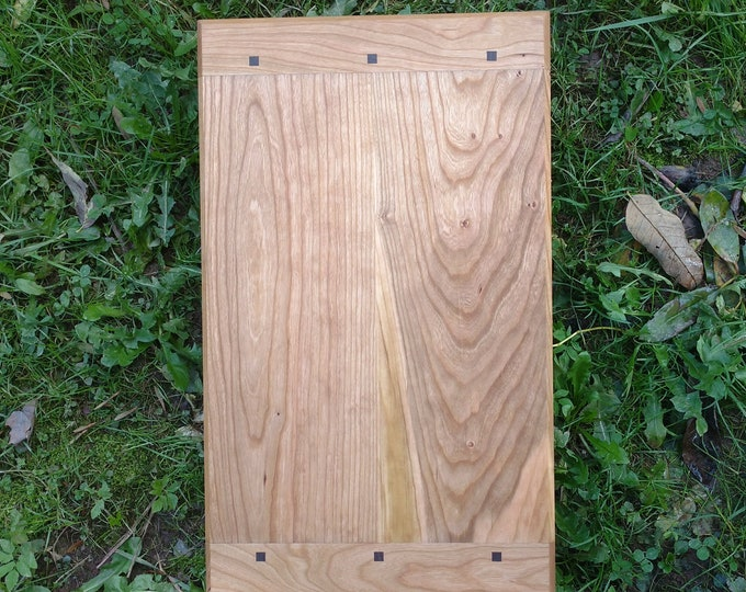 Large CHERRY WOOD Cutting Board with Black Walnut Wood by Daniel Caban, Cutting Board with Breadboard Ends in Cherry Wood