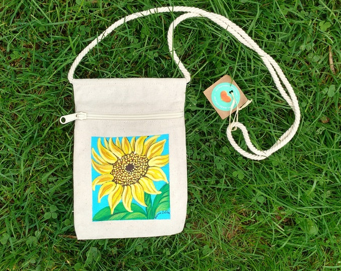 Sunflower Purse, Hand Painted Sunflower, Small Canvas Purse on a String with Zipper, Original Art by Susana Caban
