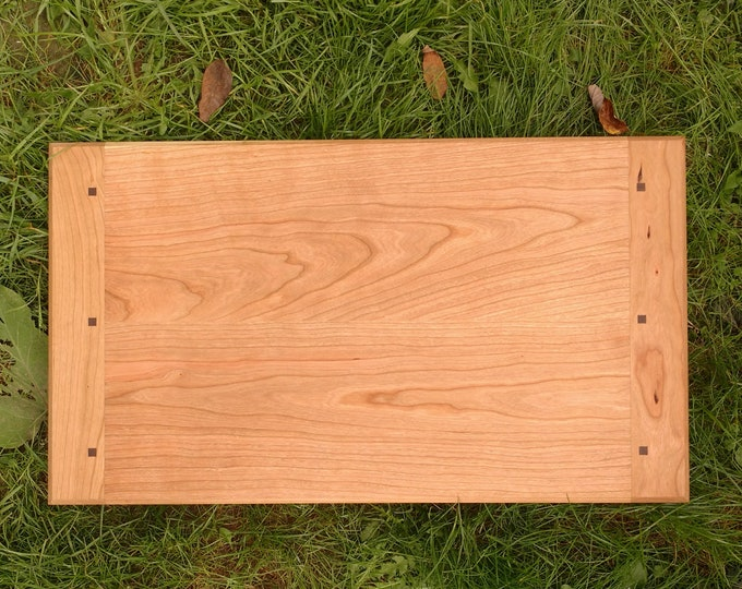 Extra Large CHERRY WOOD Cutting Board with Black Walnut Wood by Daniel Caban, Cutting Board with Breadboard Ends in Cherry Wood