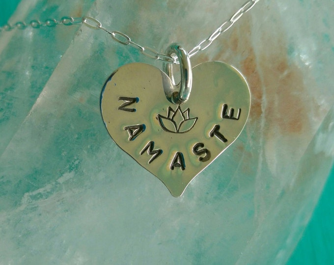 PURE LOVE Namaste Yoga Jewelry, NAMASTE Heart Necklace with Lotus Flower in Sterling Silver, Meditation Jewelry (#038)