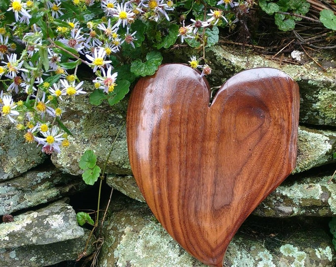 HEART of the HOME Wall Decor Carved in Walnut Wood, House Warming Gift, Wedding Gift, Anniversary Gift, Rustic Home Decor, Wall Art