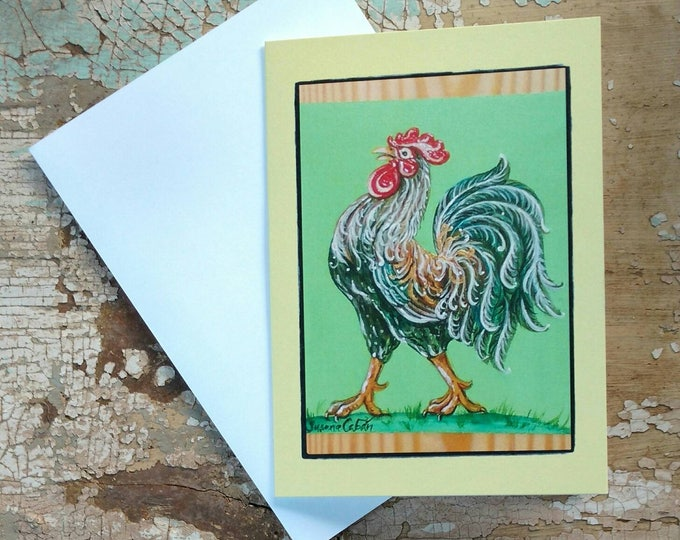 TROPICAL FRENCH ROOSTER Greeting Cards, Set of 3 Yellow Rooster Cards, Designed by Susana Caban, Blank Note Cards, Farm House Decor and Gift