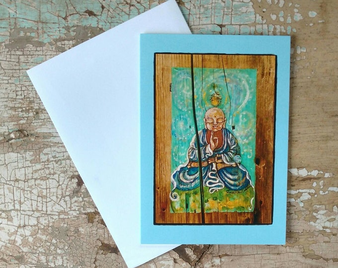 EARTH and SKY Buddha Greeting Cards, Set of 3 Cards with Sky Blue Border, Designed by Susana Caban, Blank Buddha Note Cards, Buddhist Gift