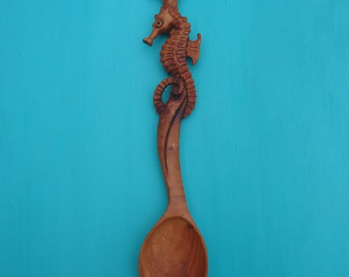 SEA DANCE, Hand Carved Spoon in Mahogany with Sea Horse Design by Susana Caban, Collectable Seahorse Spoon Carving, Coastal Living, Nature