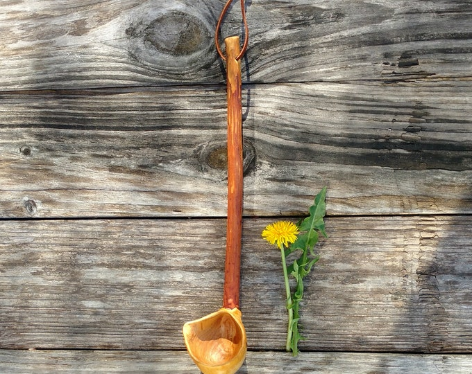 Hand Carved Spoon in Cherry Wood, Rustic Ladle Hand Carved in Wood