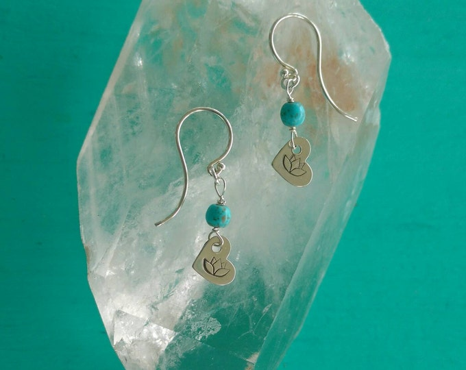 SILVER LOTUS Heart Earrings, Tiny Dangle Earrings with Lotus and Magnesite Beads, Lotus Flower Heart Earrings, Yoga Inspired Jewelry (#043)