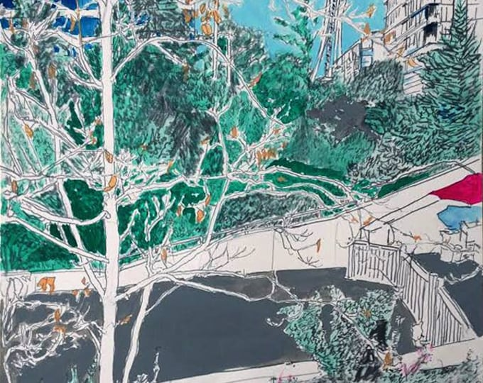 View From Olympic Sculpture Park, Original Painting in Gouache, Graphite & Ink on Paper by Blue Caban