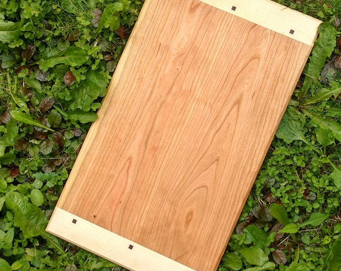 Extra Large CHERRY WOOD Cutting Board with Maple and Black Walnut Wood by Daniel Caban, Cutting Board with Breadboard Ends in Cherry Wood