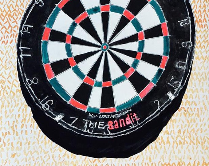 Dartboard, Original Painting in Gouache, Graphite & Ink on Paper by Blue Caban