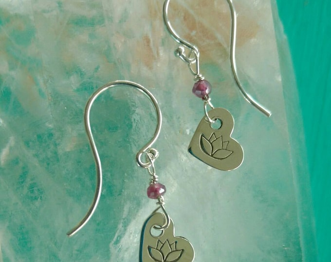 SILVER LOTUS Heart Earrings, Tiny Dangle Earrings with Lotus and Garnet Beads, Lotus Flower Heart Earrings, Yoga Inspired Jewelry (#042)