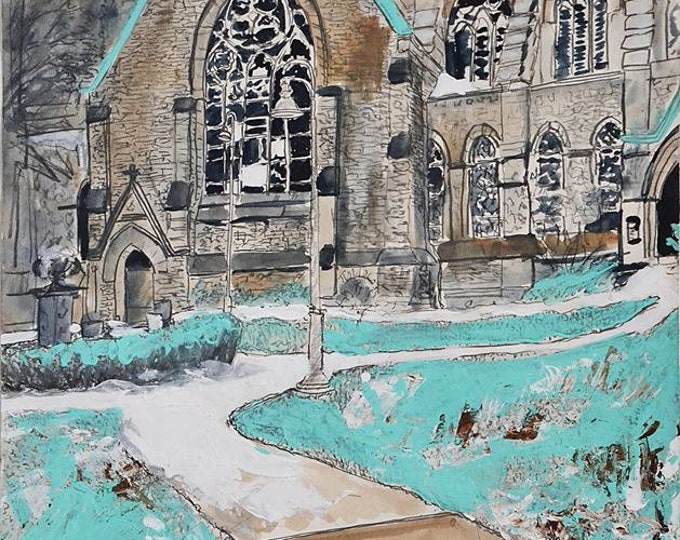 Winter Church Yard, Original Painting in Gouache, Graphite & Ink on Paper by Blue Caban