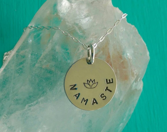 PURE LOVE Namaste Yoga Jewelry, NAMASTE Necklace with Lotus Flower in Sterling Silver, Meditation Jewelry (#039)