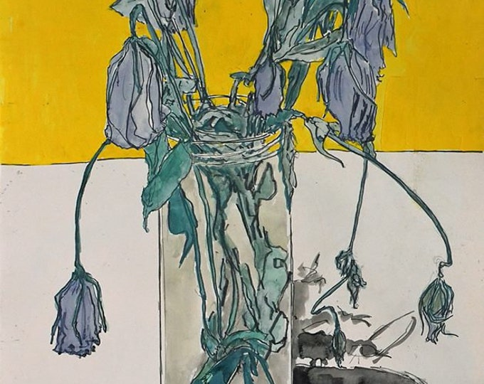 Lisianthus, Original Still Life Painting of Flowers in Gouache, Graphite & Ink on Paper by Blue Caban
