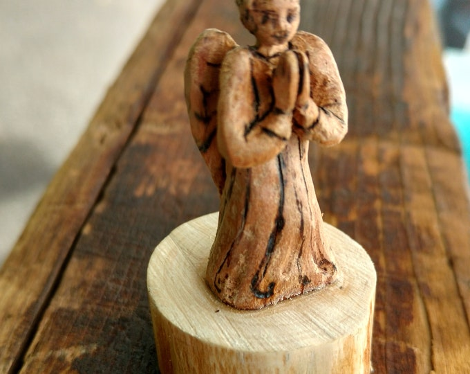 Tiny BLESSING ANGEL, Hand Carved Wood Mini Angel, Good Luck Charm Angel, Get Well Gift, House Warming Gift, Christmas Angel, Guardian Angel
