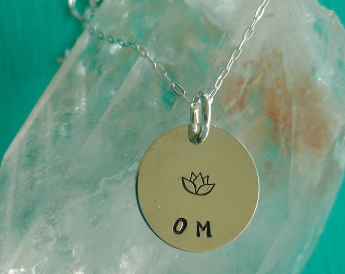 PURE LOVE Om Yoga Jewelry, OM Lotus Flower Necklace in Sterling Silver, Meditation Jewelry (#037)