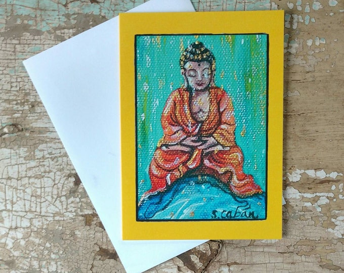 RAINDROP Buddha Greeting Cards, Set of 3 Cards with Bright Sunny Yellow Border, Designed by Susana Caban, Blank Buddha Note Cards