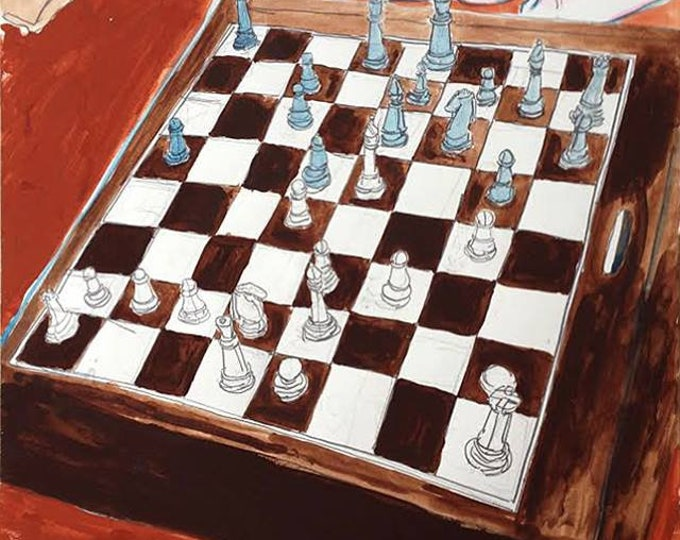 A Game of Chess, Original Painting in Gouache, Graphite & Ink on Paper by Blue Caban