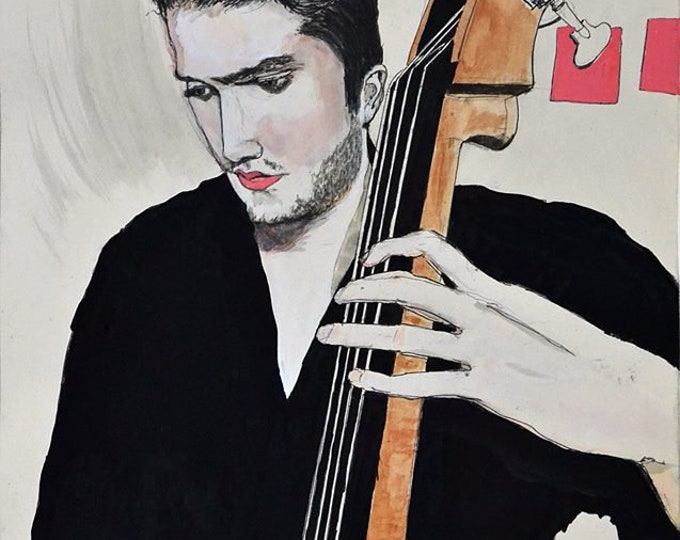 Aaron Playing Bass, Original Portrait Painting in Gouache, Graphite & Ink on Paper by Blue Caban