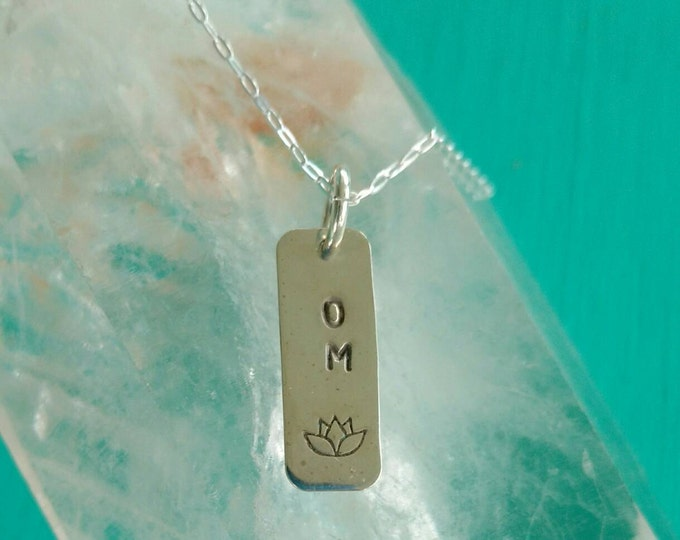 PURE LOVE Om Yoga Jewelry, OM Lotus Flower Tag Necklace in Sterling Silver, Meditation Jewelry (#041)