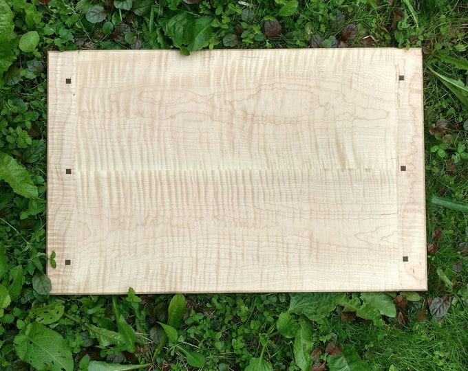 Extra Large Curly MAPLE WOOD Cutting Board by Daniel Caban, Cutting Board with Breadboard Ends in Curly MAPLE Wood