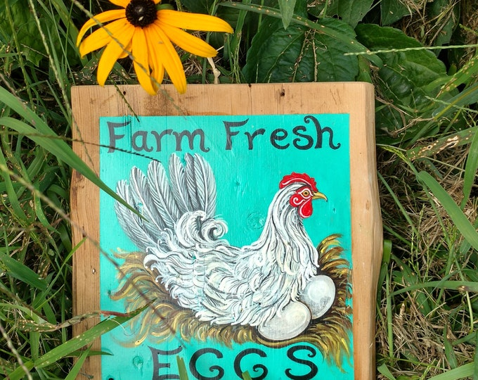 Farm Fresh Egg Sign on Antique Barn Wood, Hand Painted Nesting Chicken Painting, Original Farm House Decor by Susana Caban