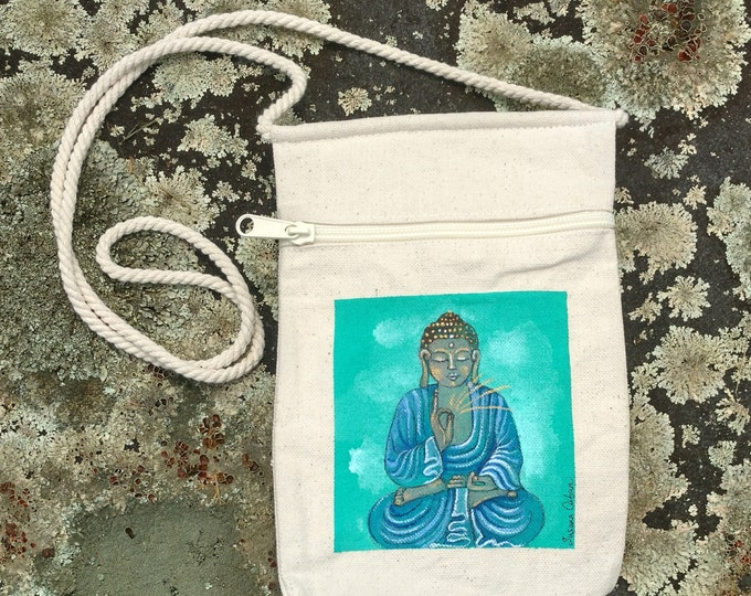 Blissful BUDDHA Purse, Hand Painted Buddha, Small Canvas Purse on a String with Zipper, Original Art by Susana Caban