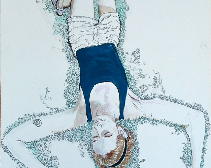 Maria in the Grass, Original Portrait Painting in Gouache, Graphite & Ink on Paper by Blue Caban