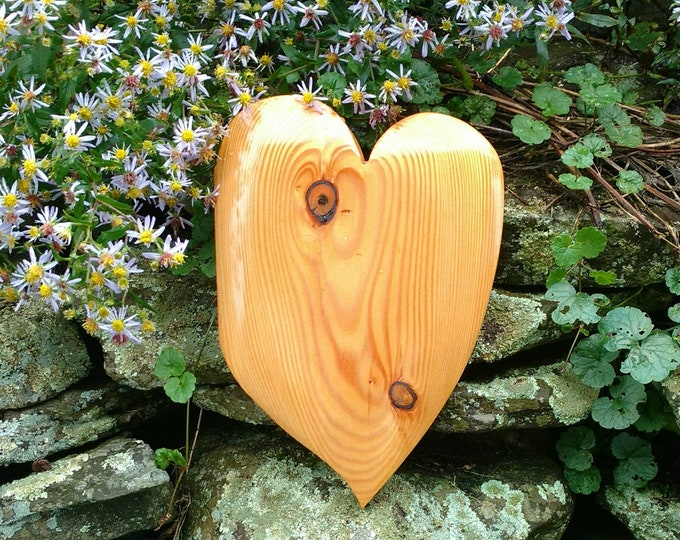 HEART of the HOME Wall Decor Carved in Larch Wood, House Warming Gift, Wedding Gift, Anniversary Gift, Rustic Home Decor, Wall Art