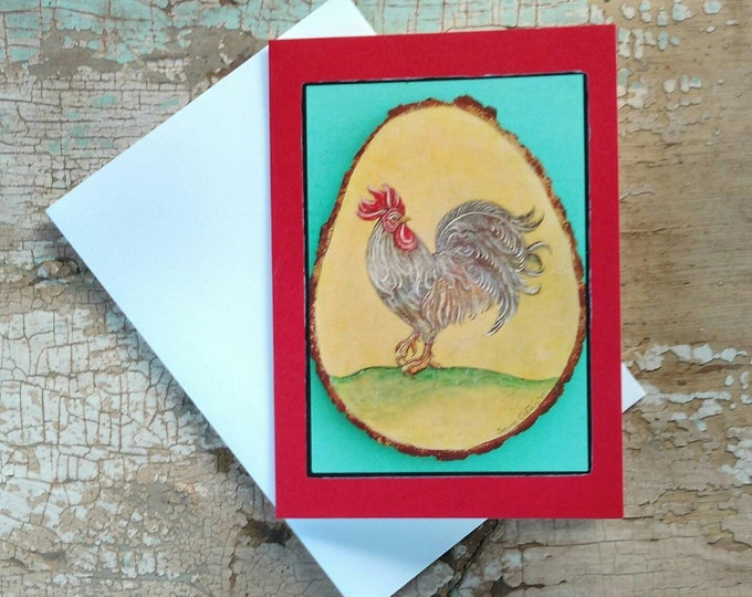 TROPICAL FRENCH ROOSTER Greeting Cards, Set of 3 Red Rooster Cards, Designed by Susana Caban, Blank Note Cards, Farm House Decor and Gift