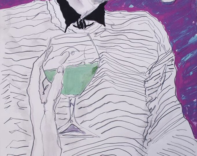 Absinthe, Original Portrait Painting in Gouache, Graphite & Ink on Paper by Blue Caban
